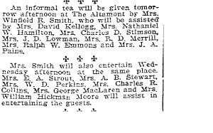 Mrs. Winfield R. Smith, two invitations to tea. Seattle Times, May 8th, 1905, pg 8